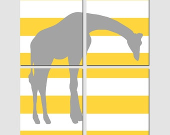 Stripe Giraffe Modern Nursery Art Quad - Set of Four 11x14 Prints - CHOOSE YOUR COLORS - Shown in Yellow, Gray, and More