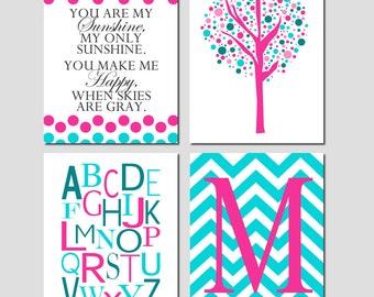 Nursery Art Quad - You Are My Sunshine Polka Dot, Tree Dot, Alphabet, Chevron Monogram Initial - Set Four 8x10 Prints - CHOOSE YOUR COLORS