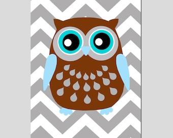 Modern Chevron Owl Silhouette Print - 13x19 Chevron Zig Zag - Kids Wall Art - CHOOSE YOUR COLORS