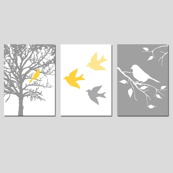 Nursery Art Prints - Modern Bird Trio - Set of Three 5x7 Prints - CHOOSE YOUR COLORS - Shown in Gray, Yellow, Pink, Blue, and More