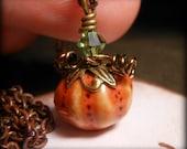 Halloween Pumpkin Necklace Copper Wire Wrapped Jewelry Orange