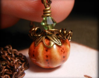Halloween Pumpkin Necklace Copper Wire Wrapped Jewelry Orange