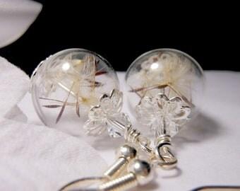 Silver Dandelion Earrings Make A Wish Dandelion Seed Hollow Lampwork Bead Round Earrings with Swarovski Crystal Accent