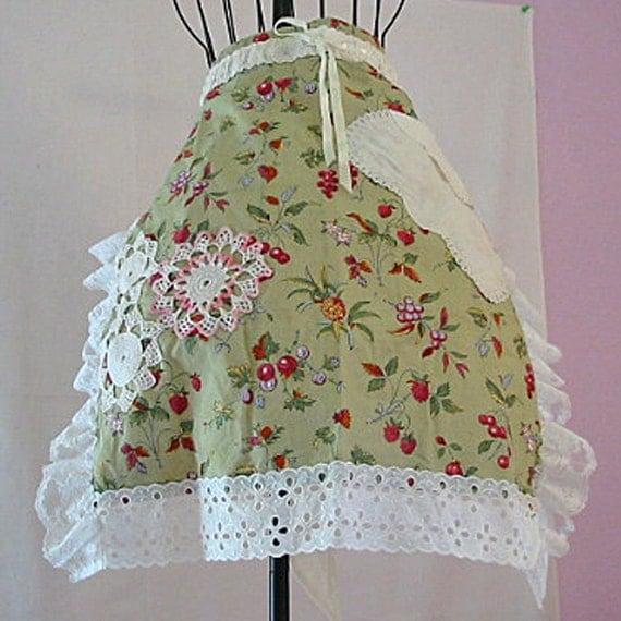 FRUIT & BERRY Half APRON, Raspberries Cherries Pineapple, Vintage White Lace Crochet Doilies, Hankie Pocket, Comfy Altered Linen Ooak Design