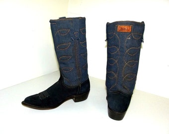 Vintage BLUE Jean style Acme brand cowboy boots in a cowgirl size 7 M