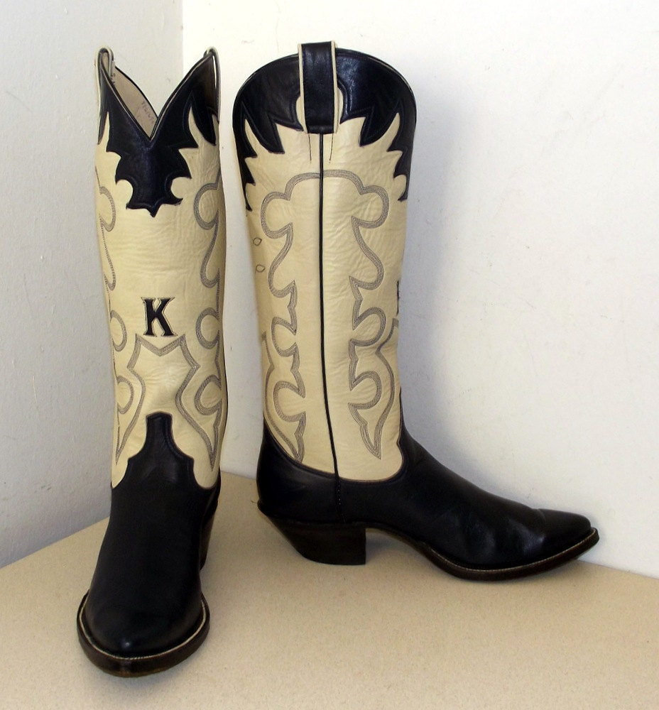 Vintage Jacksons Custom Boots Dark Blue By Honeyblossomstudio