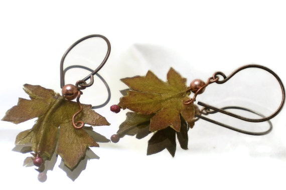 Autumn paper leaf earrings with copper