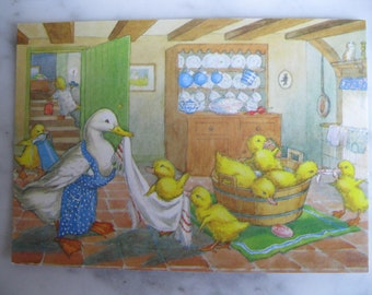 "Vintage Medici Society Postcard. Signed Molly Brett. ""Ducklings'Bathtime."