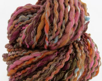 Handspun art yarn, thread plied, 'Glam', 140 yds., bulky