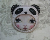 Panda Bear Pin Hand Stitched Painting by Lisa Lectura