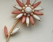 Vintage Pink and Milk White Rhinestone Flower Brooch