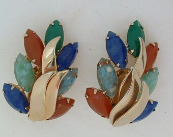 Huge Vintage Layered Rhinestone Earrings, cobalt, red, green and turquoise
