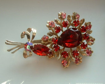 Vintage Deep Red and Pink Rhinestone Flower Brooch, Possible BEAUJEWELS