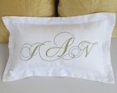 triple or vine monogram pillow custom made in 18x29nch with flange monogram can be customize