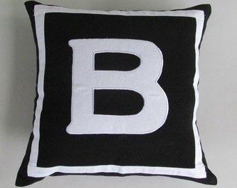 black and white initial pillow cover decaretve  monogram pillow. custom  made.  monogrammed of  your  choice. 16inch