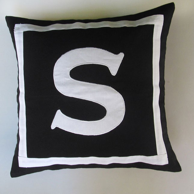 Letter S Black And White Monogram Pillow Cover 18 Inch In