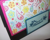 Just Because Card - Greeting Card with Paisley and Flowers - Any Occasion Card - Handmade Cards