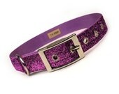lilac sparkle metal buckle dog collar (1 inch)