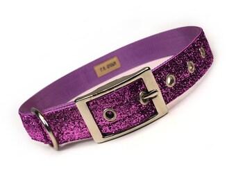 lilac sparkle metal buckle dog collar (1 inch)