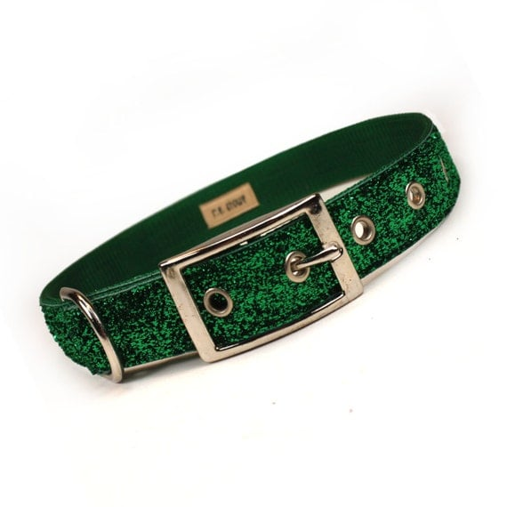 green sparkle metal buckle dog collar (1 inch)