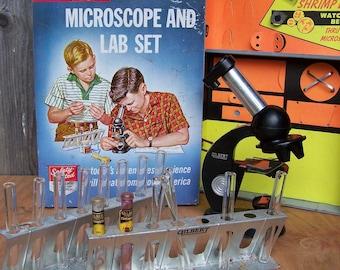 Vintage 1950s Gilbert Microscope Set