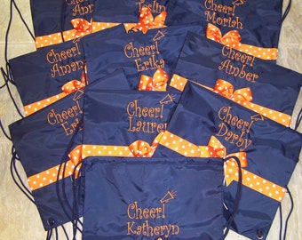 Cheer Bags for entire team!  Personalized in your color embroidery and ribbon FIRST name free