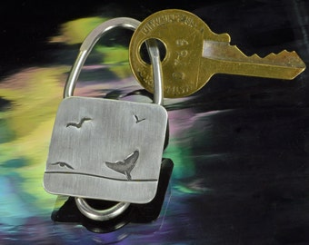 Key Ring- Diving Whale and Seabirds