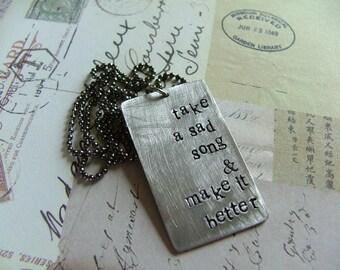 Custom Hand Stamped Lyrics Dog Tag Necklace by MyBella