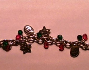 Silver Christmas Charm Bracelet Lots of Charms