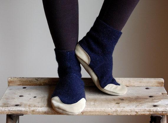 Wool Slipper Socks, Women House Slippers, women size 8, After Midnight