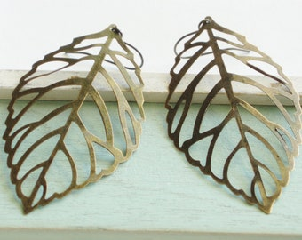 Dainty Leaf Earrings - Large Brass Leaf Statement Earrings