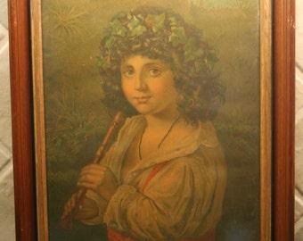 10 x 13 ITALIAN SHEPHERD Boy with Flute Print from Estate in 1879 Frame
