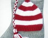 Newborn Hat, Handmade Newborn Hat, Baby Hat, Elf Hat,Striped Red and White with Braid and Tassel - Photography Prop