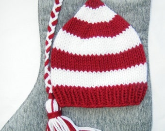 Custum Knit Newborn and Baby Hat in Red and White Stripes, Handmade Elf Hat,Striped Red and White with Braid and Tassel, Photography Prop