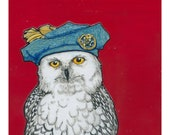 Snowy Owl with a Jaunty Hat- Small Print 4.5x4.5