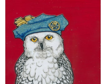 Snowy Owl with a Jaunty Hat- Small Print 4.5x4.5