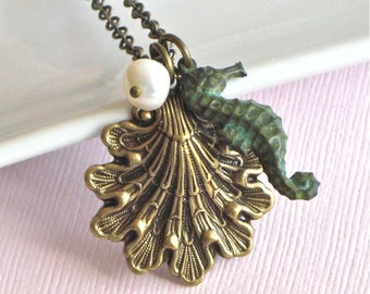 Seahorse Shell Necklace -  Ocean Jewelry, Verdigris Patina Brass