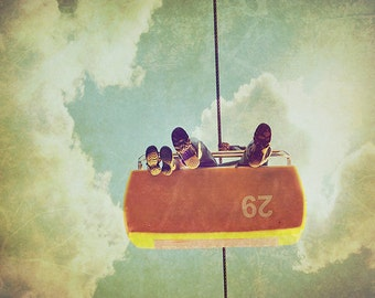 BUY 2 GET 1 FREE Carnival Photography, Sky, Family, Childrens Room, Mustard Yellow, Soft, Vintage Inspired, Floating - Father and Son  Fin