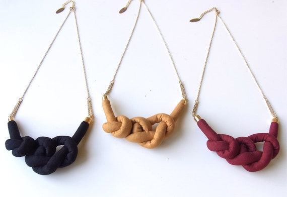 Fabric Rope Knot Necklace - A/W colors