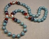 Vintage Bead Porcelain Koi Fish Necklace Carnelian, Blue Fossil Stone , Red Jasper - Hanako