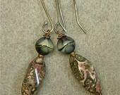 Vintage Leopard Skin Jasper Bead Dangle Drop Earrings , Vintage 1950s Black Grey German Glass, Handmade Sterling Silver Ear Wires