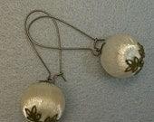 Vintage Ivory White Japanese Silk Bead Long Dangle Earrings