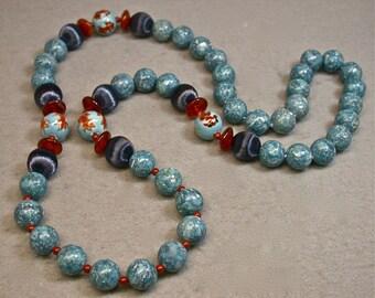 Vintage Porcelain Koi Fish Bead Necklace, Carnelian, Blue Fossil Stone , Red Jasper - Hanako
