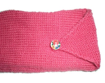 Mittens - Hand Knit Pink Fingerless Mittens with Button