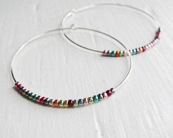 Rainbow Hoop Earrings with Metallic Beads - Circa Series