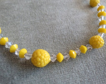 Lemon Drop Yellow 1930s Necklace