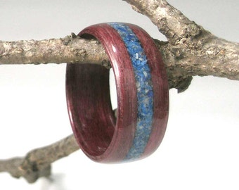 Wooden Ring Purpleheart with Lapis Inlay