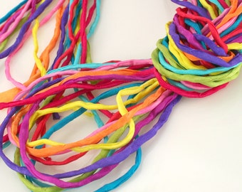 Silk Strings for Jewelry Making 10 ea 2mm Silk Strings Fiesta Rainbow Bundle Hand Dyed
