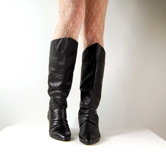 Flat supple leather slouch pull on black riding pirate boots shoes 8