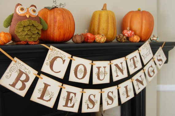 thanksgiving decor COUNT your BLESSINGS decoration, sign, photoprop